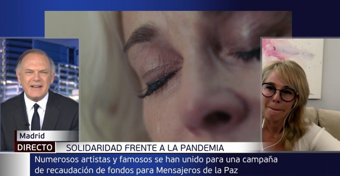 Pedro Piqueras y Belén Rueda en Informativos Telecinco