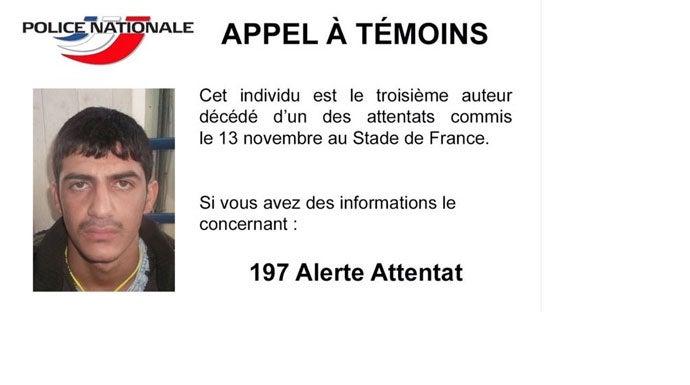La Policía francesa ha publicado la foto del tercer terrorista del Stade de France.
