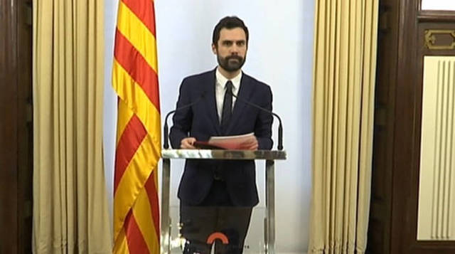 Roger Torrent, presidente del Parlament, este viernes.