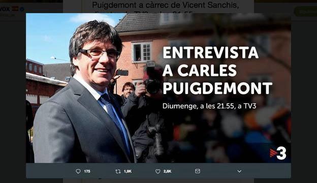 Los responsables de la televisión pública catalana anunciaban la entrevista exclusiva con el expresidente catalán. Pero la sorprendente emisión lleva camino de terminar en los tribunales.