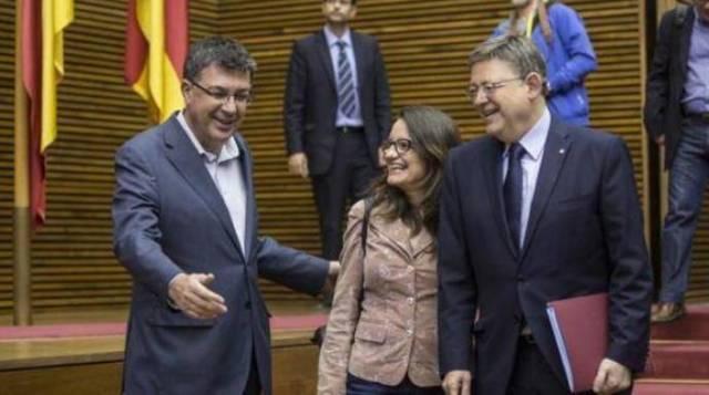 El presidente de la Cortes Valencianas, Enric Morena, junto a Puig y Oltra.