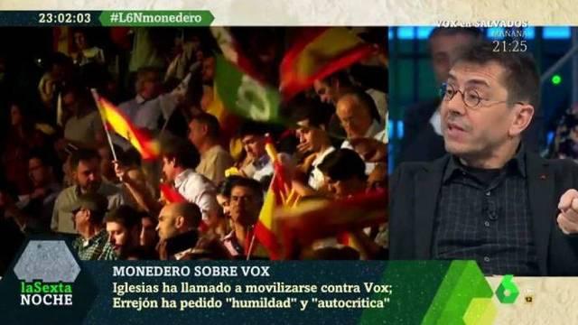 distribuidor mayorista ed331 efadd Monedero acusa a Vox en La Sexta Noche de querer