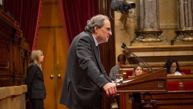 Quim Torra durante el Pleno de este miércoles en el Parlament.