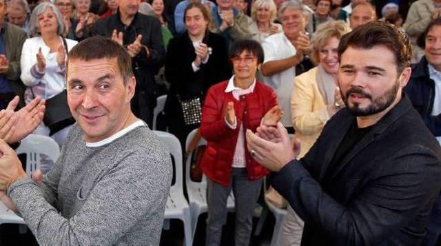 """Otegi y Rufián, a ERC y Bildu les ha tocado la """"lotería"""" de las subvenciones públicas."""