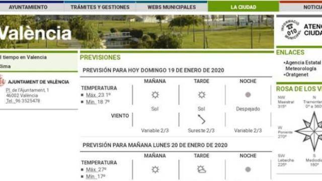 Ayuntamiento Valencia: la web olvida actualizar los avisos de emergencia y dice que hará sol