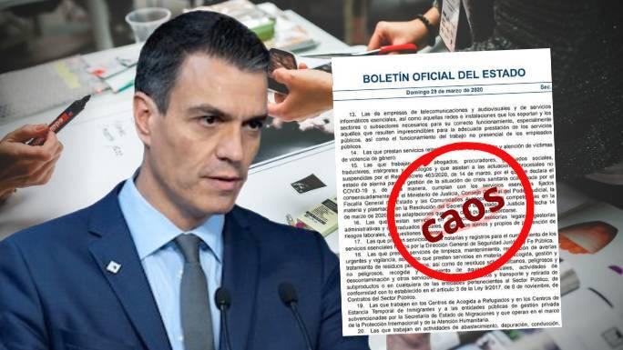 El BOE confiesa con una errata involuntaria el «caos» que desborda a Sánchez