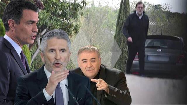 Mariano Rajoy, en su paseo, junto a Sánchez, Marlaska y Ferreras