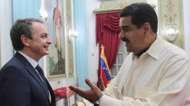 Zapatero y Maduro en uno de los frecuentes viajes del expresidente socialista a Caracas.