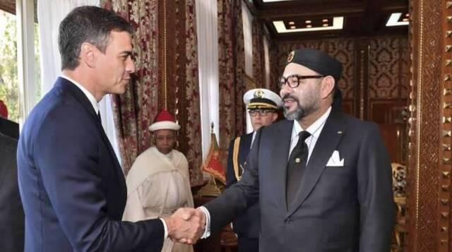 Sánchez, en su primera visita a Marruecos cuando llegó a Moncloa.